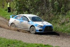 El competir con de Mitsubishi Lancer EVO WRC Fotos de archivo libres de regalías
