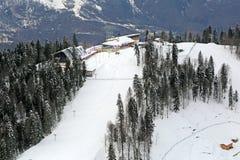 El complejo del esquí y del biathlon Imagenes de archivo