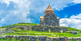 El complejo del monasterio en la península de Sevan Imagen de archivo libre de regalías