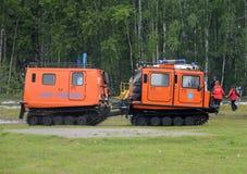 El complejo móvil universal para la lucha contra el rescate y el fuego en lugares difíciles de alcanzar en el Noginsk rescata el  Foto de archivo