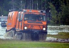 El complejo móvil universal para la lucha contra el rescate y el fuego en lugares difíciles de alcanzar en el Noginsk rescata el  Imagen de archivo