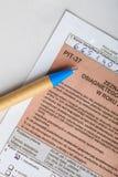El completar el formulario de impuesto individual polaco PIT-37 2013 Fotografía de archivo libre de regalías