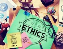 El comportamiento de los ideales de la imparcialidad de la integridad de los éticas valora concepto Fotografía de archivo