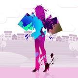 El comprador de la mujer indica actividad comercial y la compra Imágenes de archivo libres de regalías