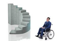 El concepth de la accesibilidad con la silla de ruedas para los minusválidos imagen de archivo libre de regalías