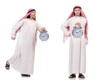 El concepto árabe del hombre a tiempo en blanco fotografía de archivo libre de regalías