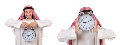 El concepto árabe del hombre a tiempo en blanco imagen de archivo libre de regalías