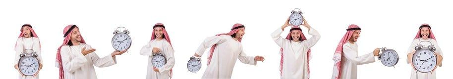 El concepto árabe del hombre a tiempo en blanco imágenes de archivo libres de regalías