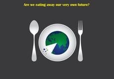 El concepto ambiental del distruction con tierra sirvió en una placa comer como una pizza Imagen de archivo libre de regalías