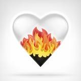 El concepto ardiente del amor como forma del corazón en llamas ardientes diseña stock de ilustración