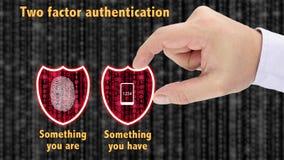 El concepto bifactorial de los escudos de la autentificación tiene y es imagen de archivo libre de regalías