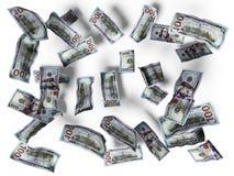 El concepto cientos dólares de cuentas cae en el piso 3d para rendir en el fondo blanco con la sombra libre illustration