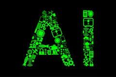 El concepto computacional moderno de la inteligencia artificial stock de ilustración