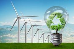 El concepto con los molinoes de viento - de la energía alternativa representación 3d Fotos de archivo libres de regalías