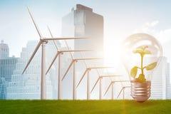 El concepto con los molinoes de viento - de la energía alternativa representación 3d Fotografía de archivo libre de regalías