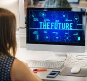 El concepto conectado futuro de la tecnología de los abejones imagen de archivo