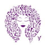 El concepto cosmético, los accesorios femeninos en mujer dirige ilustración del vector