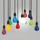 El concepto creativo de la idea y de la dirección colorea la bombilla Imagen de archivo