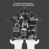 El concepto de ambiente accesible para las personas con discapacidades Casa con los iconos en las palmas stock de ilustración