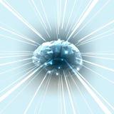 El concepto de cerebro humano activo con los rayos ilustración del vector