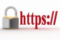 El concepto de conexión segura del HTTPS firma adentro la dirección del navegador Foto de archivo