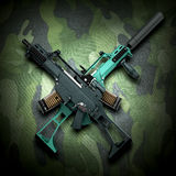 El concepto de confrontación del conflicto armado 3d cruzados los armas ren ilustración del vector