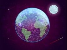 El concepto de contaminación de los utensilios plásticos disponibles del planeta Ilustración del vector ilustración del vector