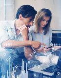 El concepto de diagrama digital, gráfico interconecta, pantalla virtual, icono de las conexiones Proceso del trabajo en equipo Ho Imagen de archivo
