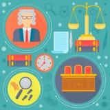 El concepto de diseño de la ley y de la justicia con el juez, las escalas del libra y los iconos de la plantilla del tribunal del Fotografía de archivo libre de regalías