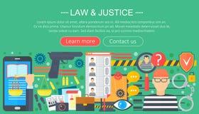 El concepto de diseño de la ley y de la justicia con la plantilla del infographics del preso y del arma diseña, los elementos hea Imagenes de archivo