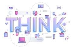 El concepto de diseño plano crea idea grande con el IDEA El vector ilustra stock de ilustración