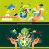 El concepto de diseño plano para la ecología y recicla Imagen de archivo