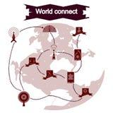 El concepto de iconos planos con el mundo largo de la sombra conecta Imagenes de archivo