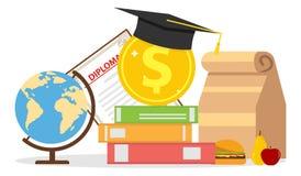 El concepto de inversión en la educación Globo, diploma, libros de texto, sombrero graduado libre illustration
