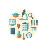 El concepto de investigación de la ciencia médica de la gestión, fijó iconos planos Fotos de archivo libres de regalías