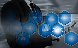 El concepto de la administración del sitio web del sistema de gestión del contenido del CMS fotos de archivo libres de regalías