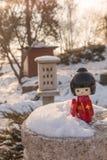 El concepto de la aduana japonesa de admirar la nieve Foto de archivo