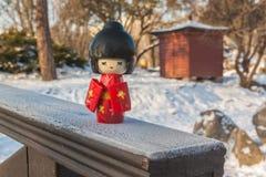 El concepto de la aduana japonesa de admirar la nieve Foto de archivo libre de regalías