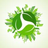 El concepto de la ciudad de Eco con recicla el icono de la hoja Foto de archivo libre de regalías