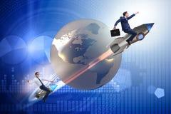 El concepto de la competición mundial con la persecución de hombres de negocios ilustración del vector