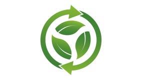 El concepto de la ecología, gira las hojas de la flecha tres gráfico del movimiento de la resolución 4K stock de ilustración