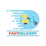 El concepto de la entrega libera, rápido, ejemplo del vector de la entrega de la comida Imágenes de archivo libres de regalías