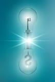 El concepto de la idea con llave y el dólar firma adentro bombillas gemelas en un fondo azul Foto de archivo