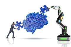 El concepto de la inteligencia artificial con el hombre de negocios fotografía de archivo libre de regalías