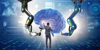 El concepto de la inteligencia artificial con el hombre de negocios ilustración del vector