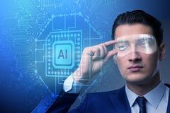 El concepto de la inteligencia artificial con el hombre de negocios fotos de archivo libres de regalías