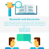 El concepto de la investigación y de la discusión vector el ejemplo en estilo infographic plano Imágenes de archivo libres de regalías