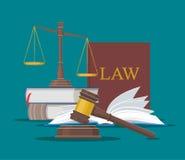 El concepto de la ley y de la justicia vector el ejemplo en estilo plano Elementos del diseño, símbolos, iconos Foto de archivo