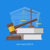 El concepto de la ley y de la justicia vector el ejemplo en estilo plano Elementos del diseño, símbolos, iconos Imágenes de archivo libres de regalías