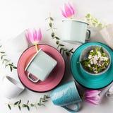 El concepto de la loza de la primavera con los tulipanes florece color en colores pastel foto de archivo libre de regalías